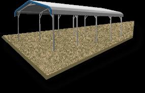 12x46 Vertical Roof Carport Ground