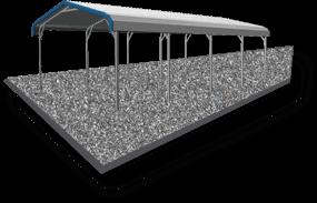 20x21 Vertical Roof Carport Gravel