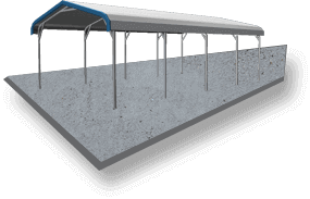 20x26 A-Frame Roof RV Cover Concrete
