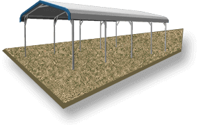 20x36 Regular Roof RV Cover Ground