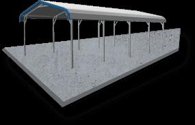 22x21 Vertical Roof Carport Concrete