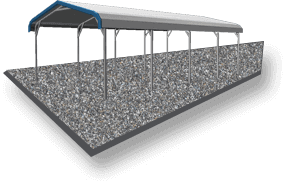 28x21 Regular Roof Carport Gravel
